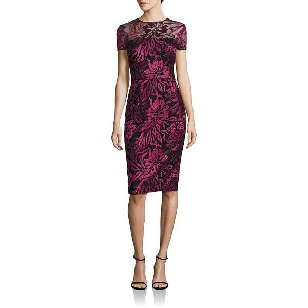 David Meister Floral Embroidered Dress (275 CAD) ❤ liked on Polyvore featuring dresses, apparel & accessories, short-sleeve dresses, david meister, purple dresses, floral embroidered dress and david meister dresses