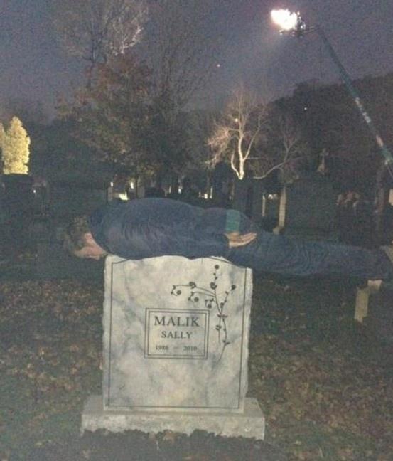 Sam Huntington Planking on Sally's grave ~ Being Human SyFy