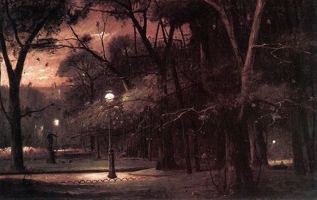 Munkacsy, Mihaly (1844-1900) - 1895 Evening in Parc Monceau (Hungarian National Gallery, Budapest) |
