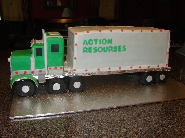 Tractor Trailer Cake Bobbys cake with company name