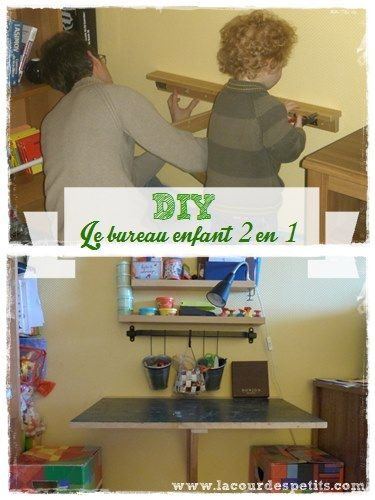 59 best chambre d 39 enfant images on pinterest kids crafts for Bureau enfant gain de place