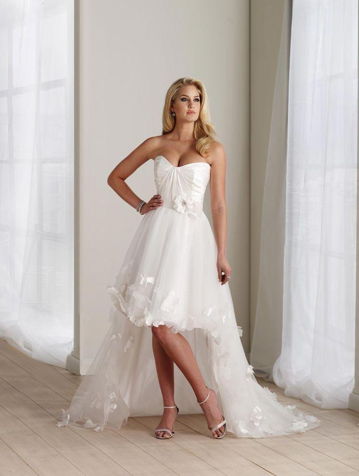 USD$178.10 - Ivory Wedding Dress High-Low Flower Taffeta Strapless - www.weddingdressbraw.com