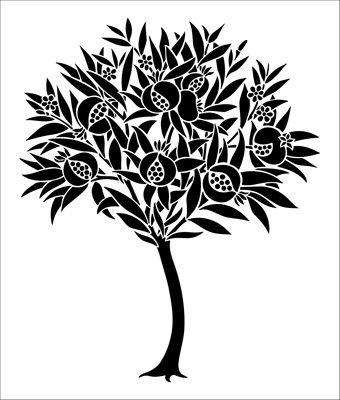 Pomegranate Motif No 2 stencil from The Stencil Library online catalogue. Buy stencils online. Stencil code DE110.