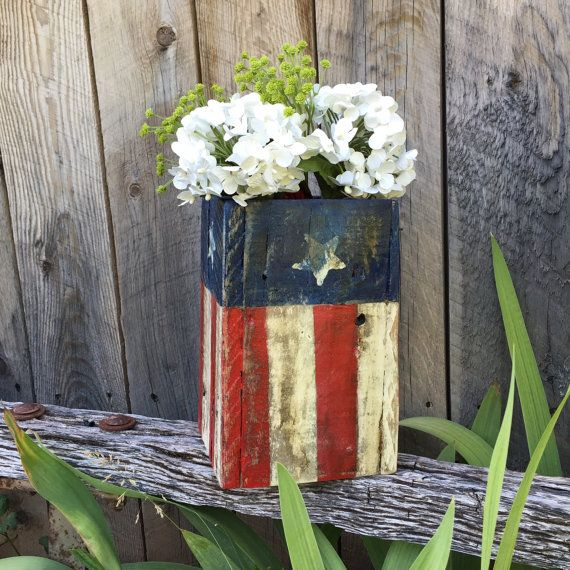Pallet Wood American Flag Box, American Flag Planter, Stars & Stripes Independence Day Flag