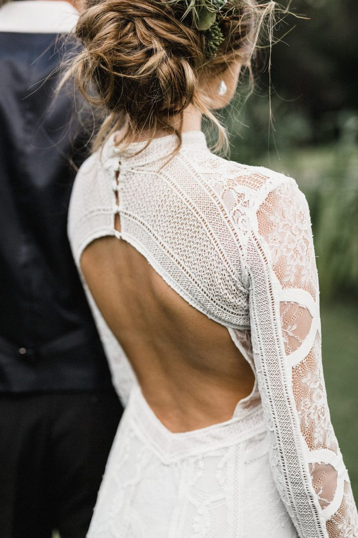Long Sleeve Wedding Dress wedding dress gown bride wife open back outdoor wedding long sleeve lace button up back white updo dream