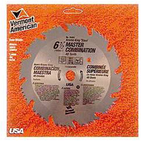 Vermont American 25207 6-1/2 inch 48T Krome King Master Combination Circular Saw Blade, Multicolor
