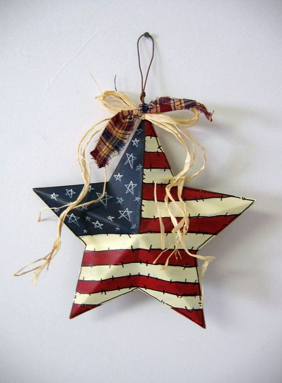 Patriotic Painted Rusty 3Dimensional Prim by barbsheartstrokes, $8.00 #handmade #prim