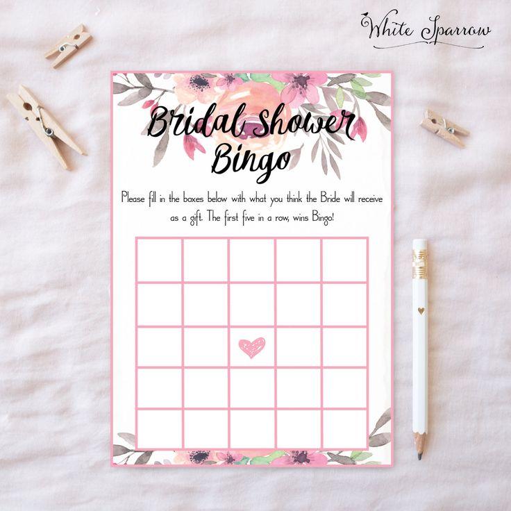 Bridal bingo, Bridal Shower Bingo, Bingo, Bridal shower games, wedding shower, wedding shower bingo, bridal shower, wedding shower games, by WhiteSparrowPrints on Etsy