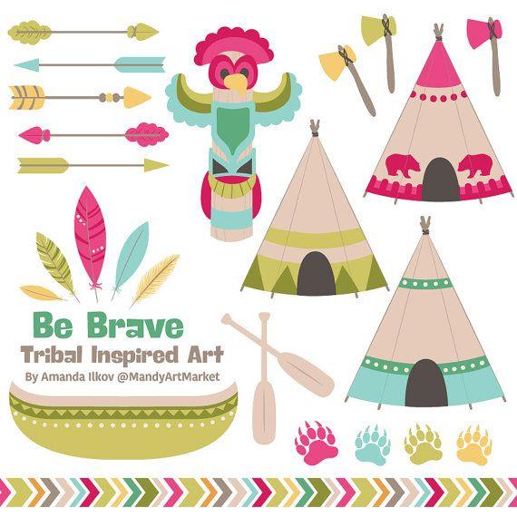 Professional Tribal Clipart & Vectors - Tribal Clip Art, Tipi Clipart, Tipi Clip Art, Tribal Vectors, Feather Clipart, Totem Pol