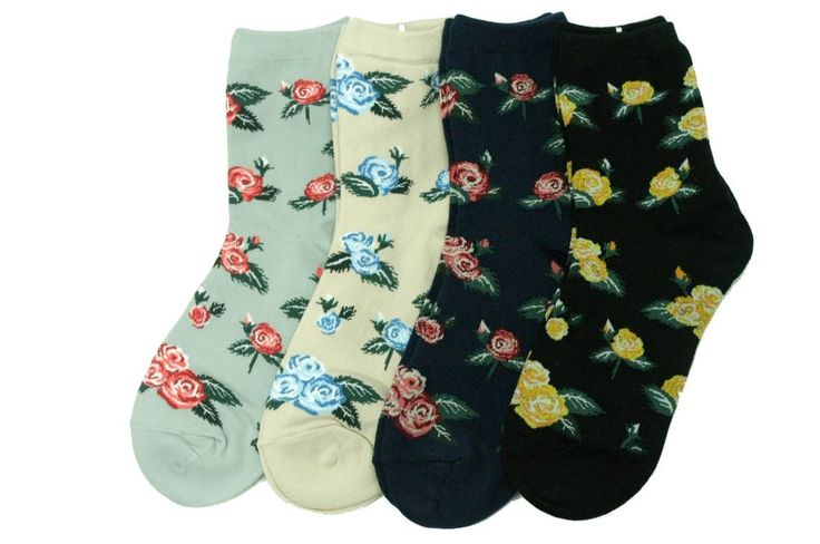 Rose Socks 4Pairs Flower Pattern Womens Unisex Kids Funny Novelty Special Gift #GGORANGNAE #Casual #CharacterSocks #women #Kid #Girl #Lady #Funny #Novelty #Pattern