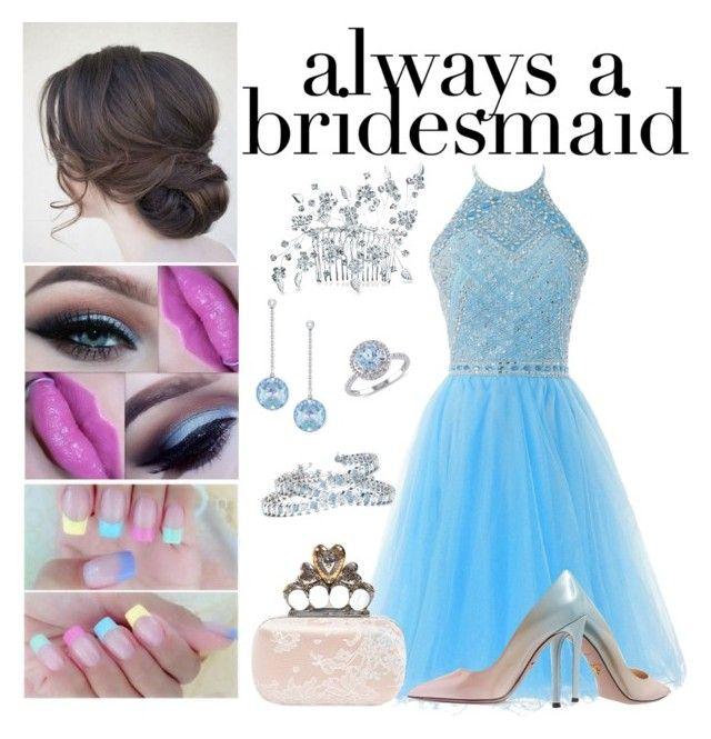 """Baby Blue Bridesmade on Spring #alwaysbrideamaid"" by bluemoon019 on Polyvore featuring Prada, Alexander McQueen, Allurez, Swarovski, Modern Bride and Bling Jewelry"