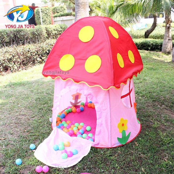 2016 новый типи розовый гриб замок палатки для детей и играть в игру дом дети внутренний сад открытый песчаный пляж складной тент игрушки купить на AliExpress