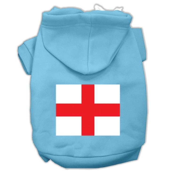St. George's Cross (english Flag) Screen Print Pet Hoodies Baby Blue Size Sm (10)