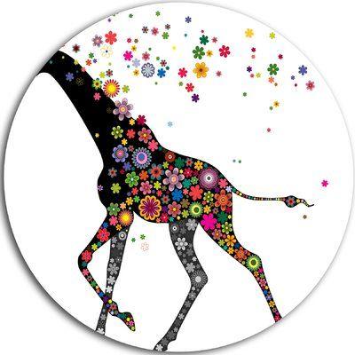 "DesignArt 'Cheerful Giraffe Running' Graphic Art on Metal Size: 11"" H x 11"" W x 1"" D"