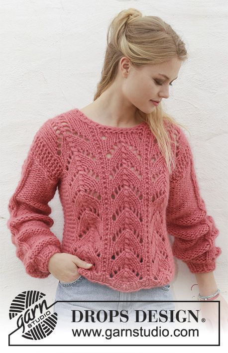 Knitted jumper with lace pattern. Sizes S - XXXL. The piece is worked in 2 strands DROPS Air.