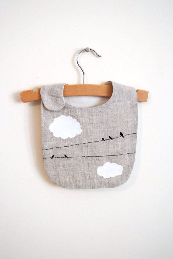 birds on lines bib - hand embroidered linen bib