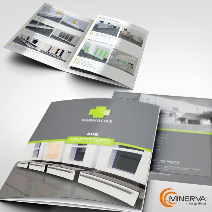 Catálogo promocional de empresa fabricante de soluções em mobiliário para farmácias. Impresso em quadricromia, acabamento com plastificação brilho + verniz