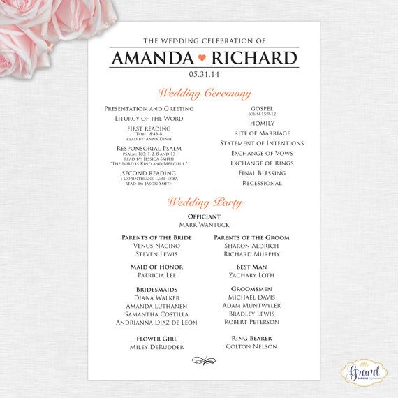 modern wedding program full mass single sided flat program