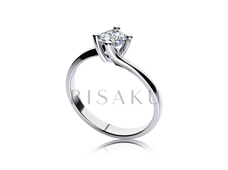 """C23 Tento model je inspirovaný rostlinným motivem - solitérní kámen jakoby z prstenu """"vykvétal"""". Štíhlé delší krapny umožňují snadný přístup světla ke kamenu a tím se ještě více umocní jeho třpyt. Z profilu lze pozorovat samotnou špičku kamenu. #bisaku #wedding #rings #engagement #svatba #zasnubni #prsteny"""