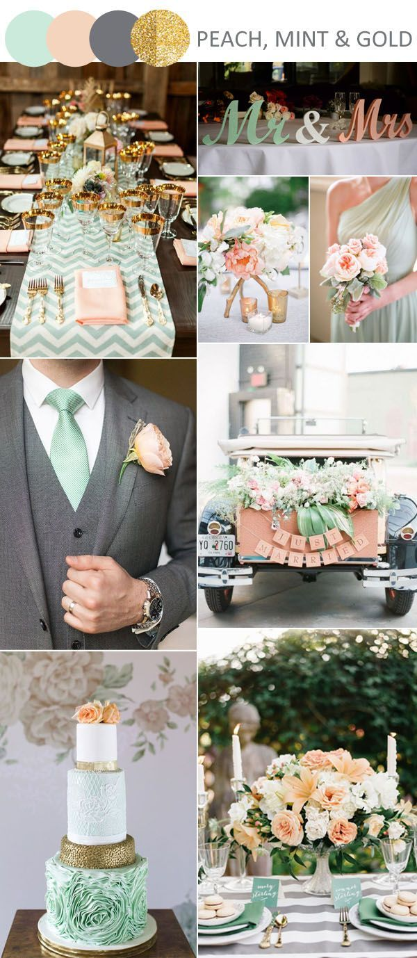 peach, mint green and green wedding ideas with gliiter gold accents