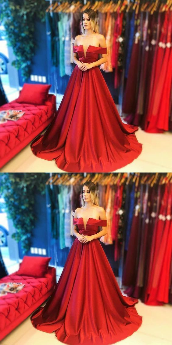 f772264b548 A-Line Off the Shoulder Sleeveless Red Long Prom Dress by PrettyLady