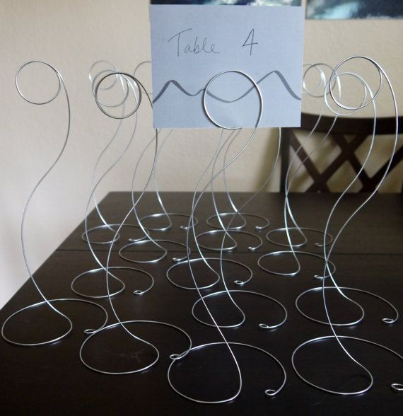 SET OF 10 Circle Table Name Holders for Wedding or Shower, Wedding Table Number Card Holders, Plain Simple Wire Photo Holders, Tall