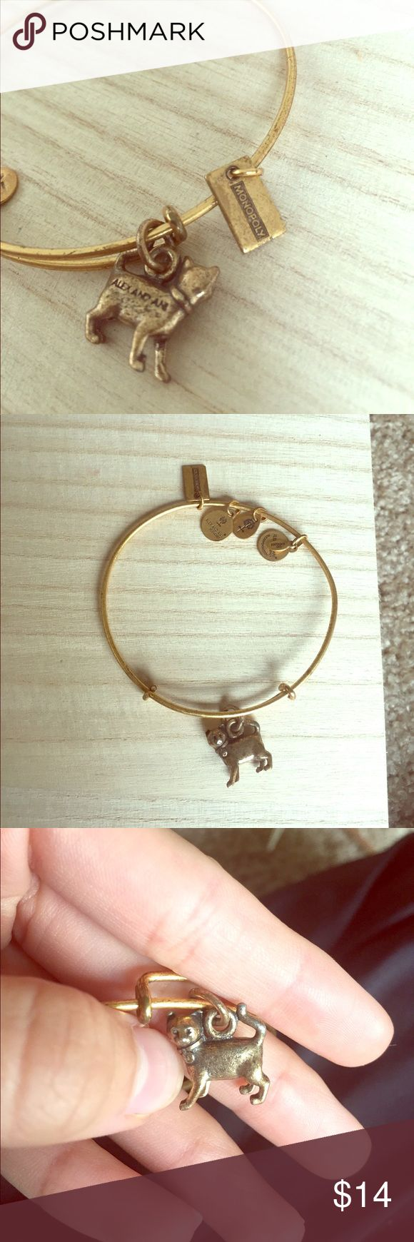 Alex & Ani Monopoly Cat Bangle Alex & Ani Monopoly cat bangle in gold. Visible wear (pictured), has been bent to fit my wrist, but is in good condition! 🐱 Alex & Ani Jewelry Bracelets