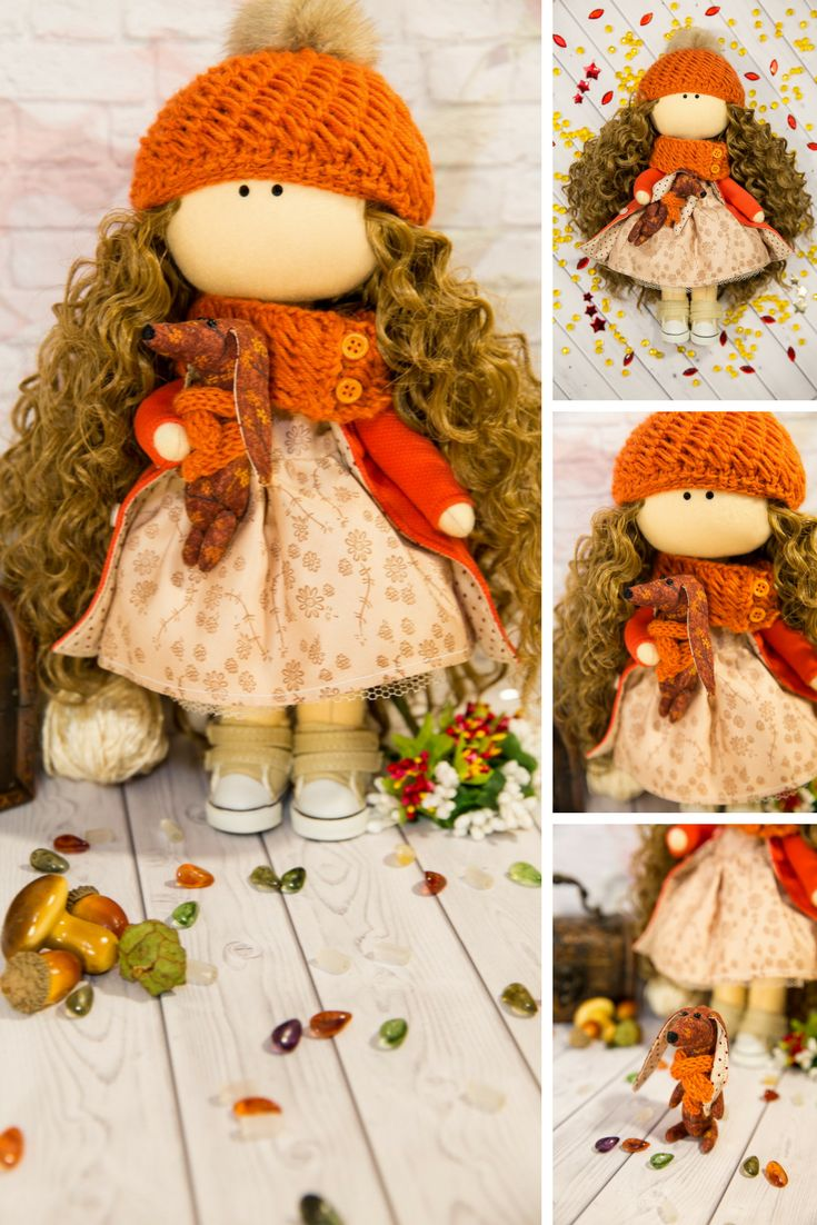 Baby Room Doll Love Winter Doll Handmade Cloth Doll Decor Rag Doll Fabric Tilda Doll Orange Nursery Doll Textile Soft Doll Gift by Evgenia Doll can be a great present for your children, family members, colleages or friends. Style of doll easily helps to use such doll as home decoration and interior design.