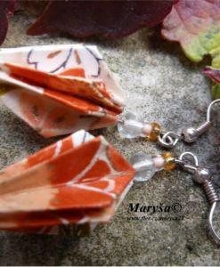 Orange origami earrings.