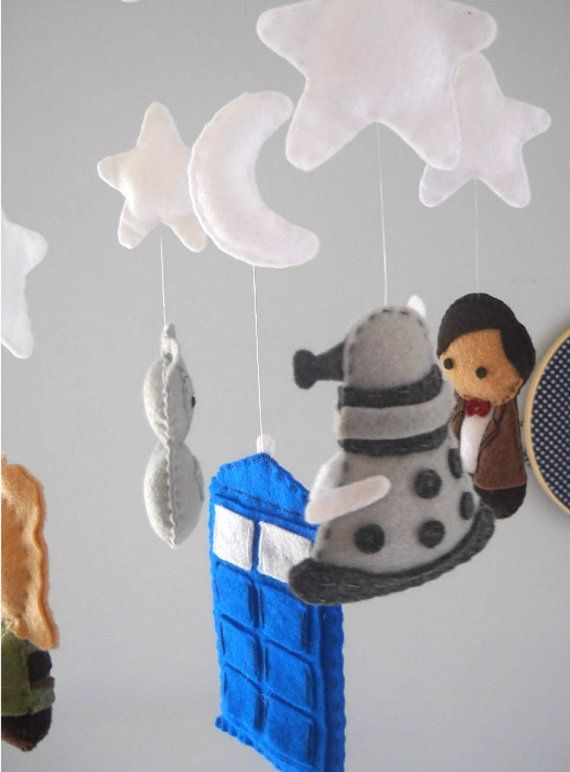 Dr. Who mobile Baby Crib Mobile Tardis Doctor Who by FoxFluff (wonder how hard this would be to make?)