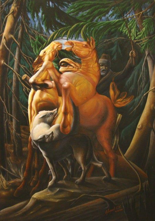 """""""Во хмелю слегка, лесом правил я"""" (Портрет В.Высоцкого) - Painting,  61x86 cm ©1999 par Sergey Suvorov -  Peinture, Huile"""