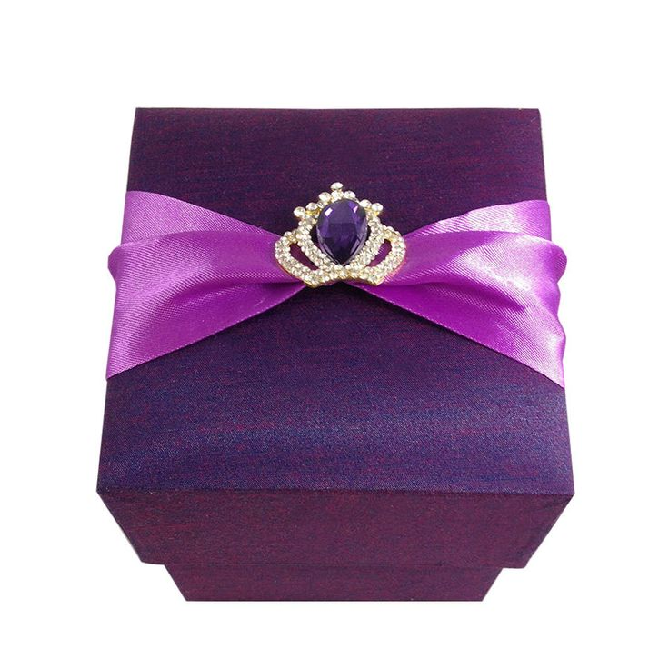 silk box wedding invitations indian%0A Purple Favor Boxes Silk Box With Royal Crown Embellishments A Set Of    by  luxuryweddinvitation on    Luxury Wedding InvitationsWedding