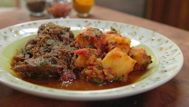 Indian-spiced lamb shoulder with Bombay potatoes |      This is a great go-to recipe when cooking for friends - you can just stick it in the oven and forget about it.