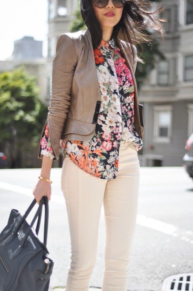 White pants + floral poplin + khaki blazerFloral Prints, Fashion Style, Style Inspiration, Floral Blouses, White Pants, Floral Shirts, Leather Jackets, White Jeans, Fashion Book