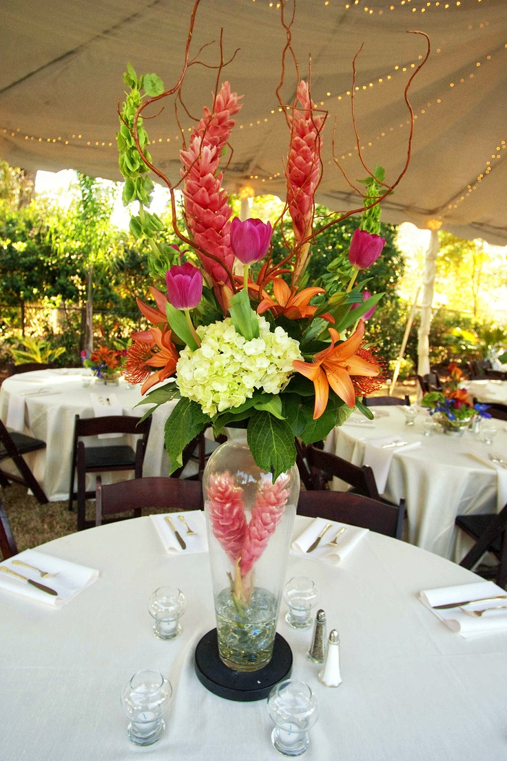 Tropical Centerpiece designed by Lana with Fairbanks Florist.