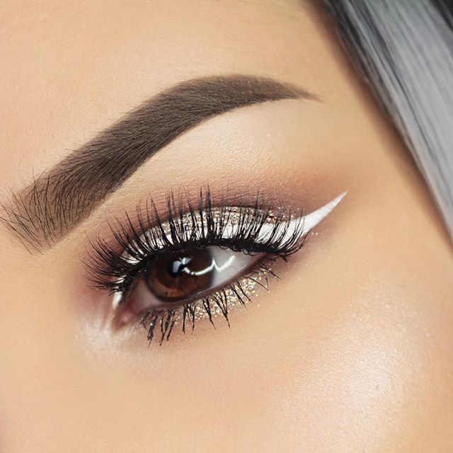 "love how a white liner looks on close ups but it looks so shitty on me in real life  Eyeshadow by @motivescosmetics: Vanilla, Paper Doll, Pearl | Gem Sparkles in ""Zirconia"" Liquid White Eyeliner by @nyxcosmetics Lashes in ""Sherin"" by @hanadibeautylashes Brows: Dipbrow Pomade in medium brown by @anastasiabeverlyhills Glow: @merakicosmeticsofficial in ""Khione"" ✨"