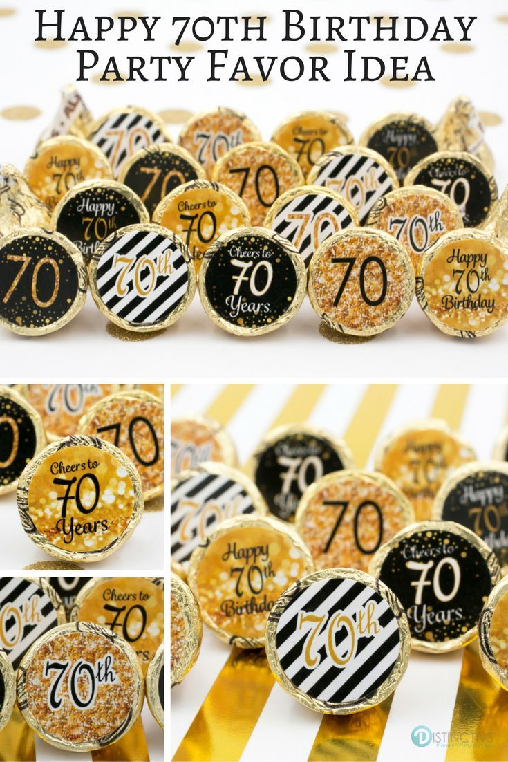 Black and gold 70th birthday party favor stickers set of for Decoration 70th birthday