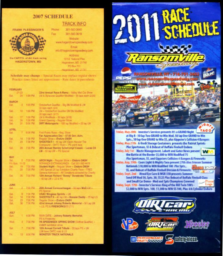 LOT OF 6 DIFFERENT NASCAR RACE SCHEDULE FLYERS MOTORDROME LAKE ERIE RANSOMVILLE  #Calendar #SCHEDULE