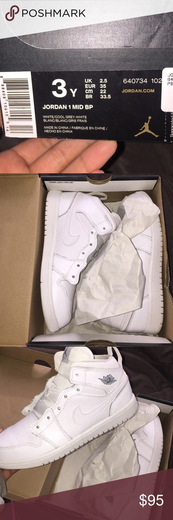 All white Jordan 1 Mid Bp's Brand new , worn once. Selling because they do not fit me anymore. Do not have shoe laces but I'm willing to give them with a pair of laces. Jordan Shoes Sneakers
