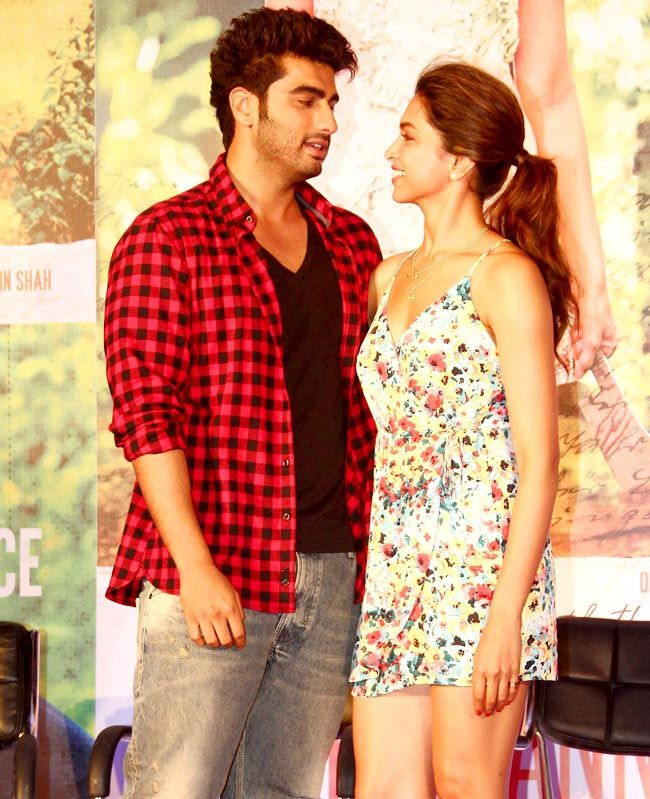 Arjun Kapoor and Deepika Padukone in some action on the stage at the music launch of Finding Fanny.