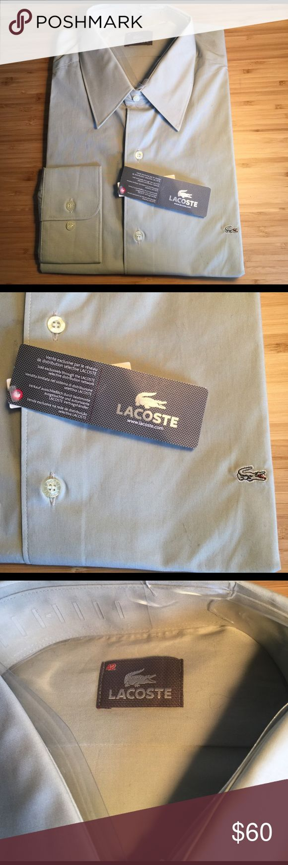 NWT Lacoste men's dress shirt size 42 NWT Lacoste long sleeve dress shirt. Elastane and cotton blend for a more fitted look! Lacoste Shirts Dress Shirts