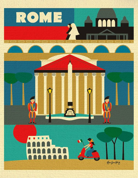 Rome Print Italy Illustration Southern European 8 by loosepetals