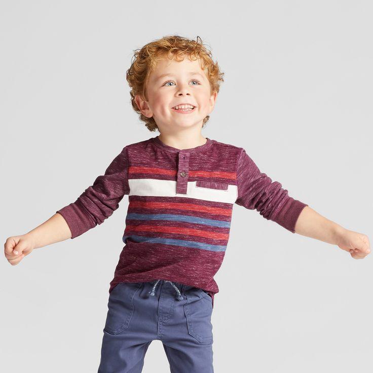 Toddler Boys' Long Sleeve Henley Shirt - Genuine Kids from OshKosh Heather Red 12M, Purple