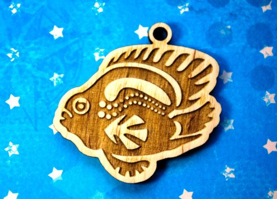 Description:  Fish keychain Purely ecological.   Specification:  Condition: new Material: Wood (Plywood) Size: height ~ 5.5 cm (2,17) width ~ 5.5