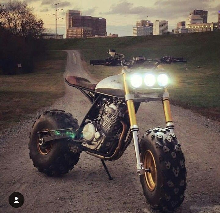 Kustom built scrambler with atv wheels and tires. Looks so much better than the production models from honda and yamaha Bigwheel,Fatcat....