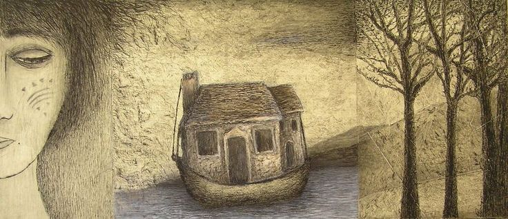 Deborah Perrow - Nostalgia - mixed media collage - 'Sea Stories' 14 May to 7 June 2015, Strathnairn Arts
