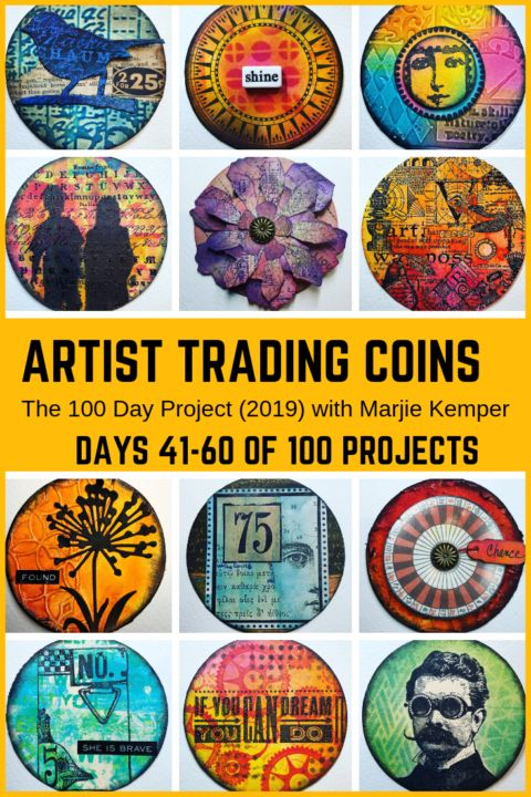 100 Days of Artist Trading Coins, Days 41-60