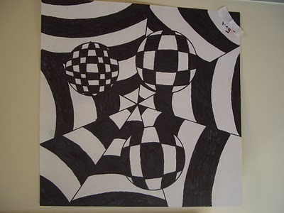 We looked at the painting Zebras by Victor Vasarely and were fascinated by the illusion of movement created between the black and white lines. Other key terms we discussed were contrast, energy and vibration.