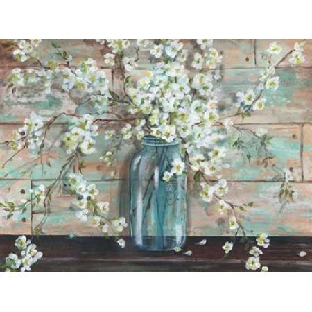 Blossoms in Mason Jar Canvas Art - Tre Sorelle Studios (22 x 28)