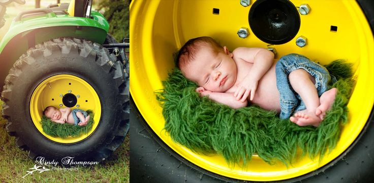 John Deere tractor, newborn, baby boy, photography, Cindy Thompson Photography